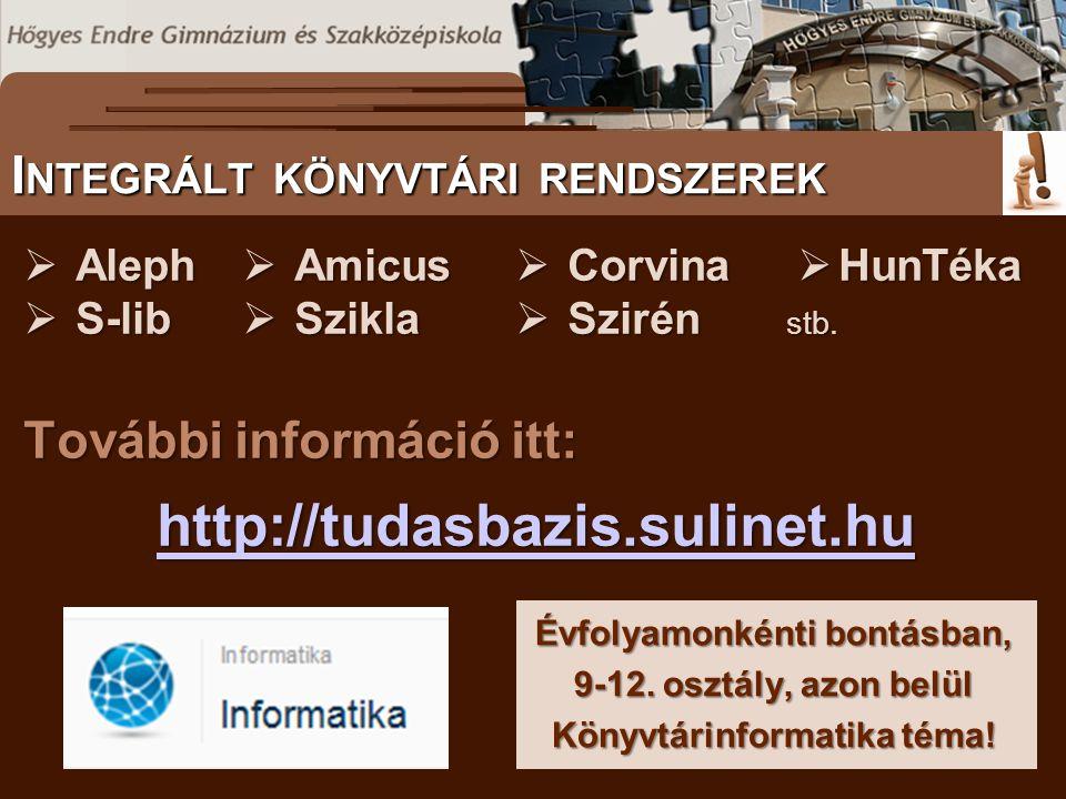 További információ itt: http://tudasbazis.sulinet.hu S ZÖVEGES DOKUMENTUMOK ELŐFORDULÁSA I NTEGRÁLT KÖNYVTÁRI RENDSZEREK Évfolyamonkénti bontásban, 9-