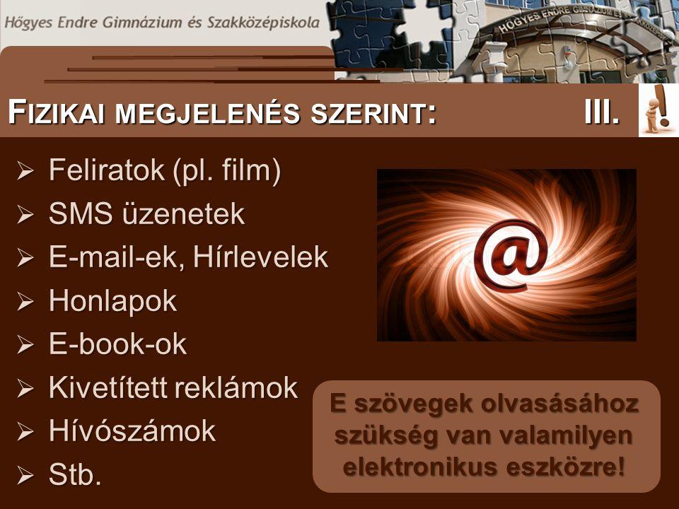 www.sulinet.hu S ZÖVEGES DOKUMENTUMOK ELŐFORDULÁSA T ANULÁST SEGÍTŐ ANYAGOK A NETEN I.