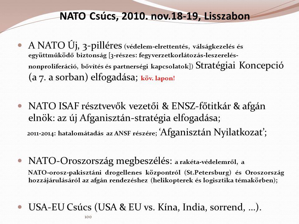 NATO Csúcs, 2010. nov.18-19, Lisszabon  A NATO Új, 3-pilléres (védelem-elrettentés, válságkezelés és együttműködő biztonság [3-részes: fegyverzetkorl