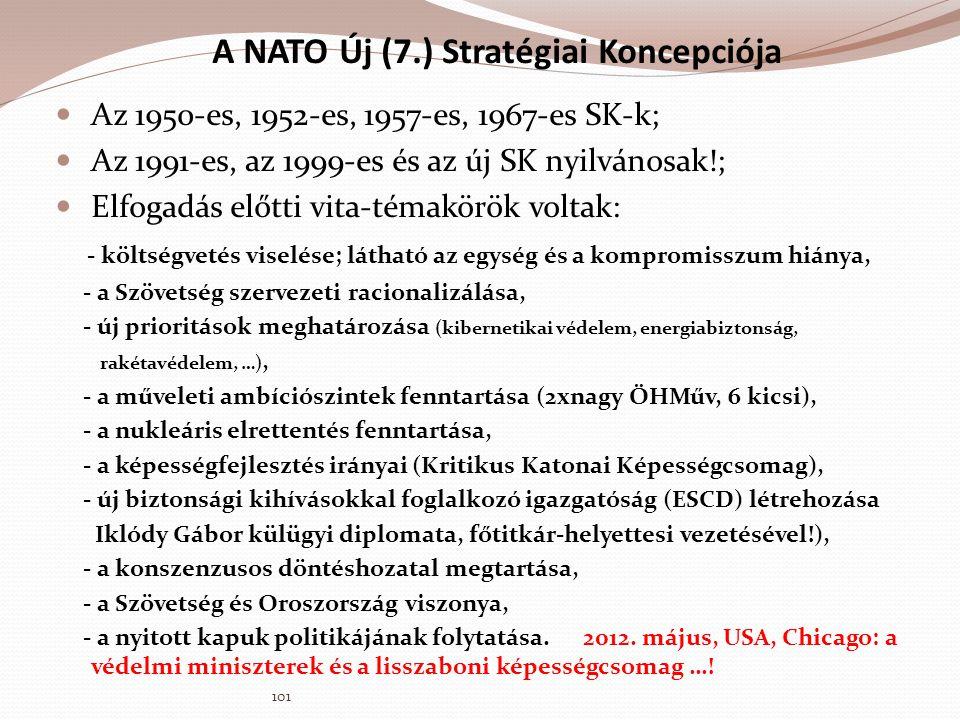 A NATO Új (7.) Stratégiai Koncepciója  Az 1950-es, 1952-es, 1957-es, 1967-es SK-k;  Az 1991-es, az 1999-es és az új SK nyilvánosak!;  Elfogadás elő