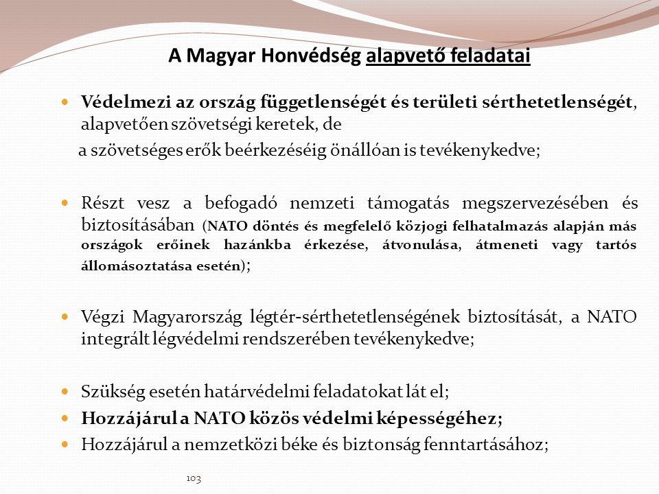 A Magyar Honvédség alapvető feladatai  Védelmezi az ország függetlenségét és területi sérthetetlenségét, alapvetően szövetségi keretek, de a szövetsé