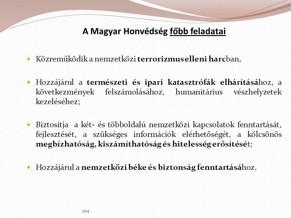 A Magyar Honvédség főbb feladatai  Közreműködik a nemzetközi terrorizmus elleni harcban,  Hozzájárul a természeti és ipari katasztrófák elhárításáho