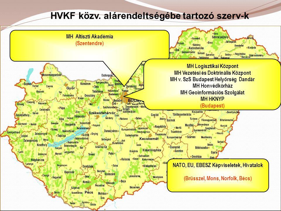 HVKF közv. alárendeltségébe tartozó szerv-k MH Altiszti Akadémia (Szentendre) MH Logisztikai Központ MH Vezetési és Doktrinális Központ MH v. SzS Buda