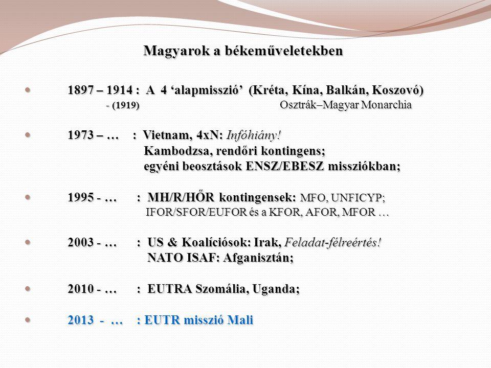 Magyarok a békeműveletekben  1897 – 1914 : A 4 'alapmisszió' (Kréta, Kína, Balkán, Koszovó) - (1919) Osztrák–Magyar Monarchia - (1919) Osztrák–Magyar