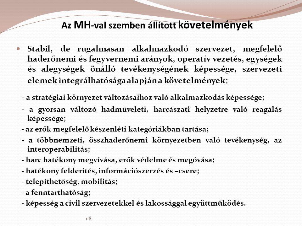 Az MH -val szemben állított követelmények  Stabil, de rugalmasan alkalmazkodó szervezet, megfelelő haderőnemi és fegyvernemi arányok, operatív vezeté
