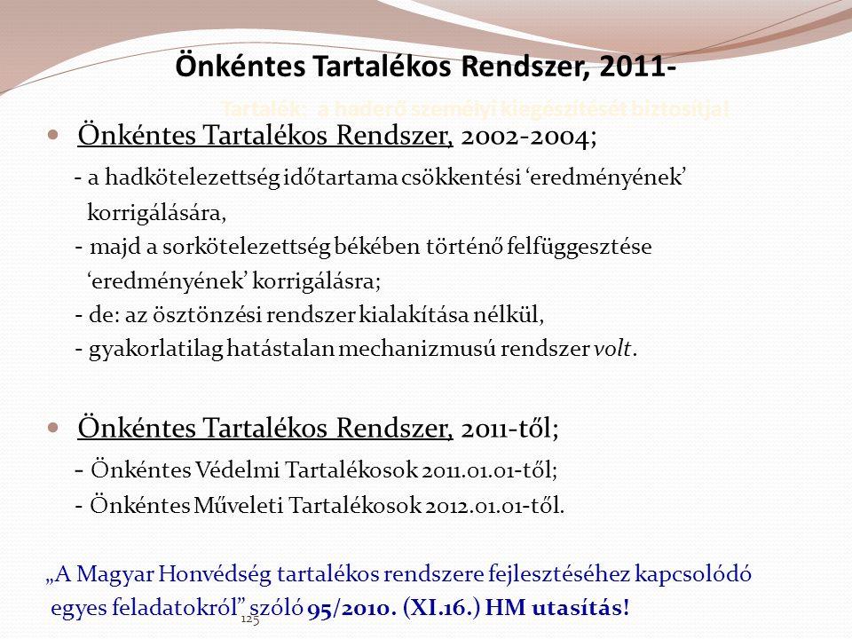 Önkéntes Tartalékos Rendszer, 2011- Tartalék: a haderő személyi kiegészítését biztosítja!  Önkéntes Tartalékos Rendszer, 2002-2004; - a hadkötelezett