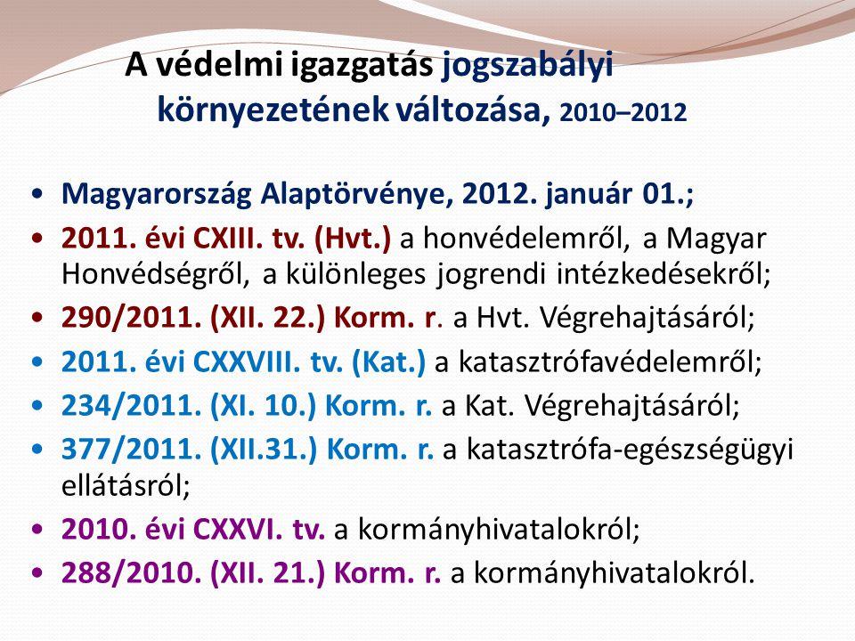 A védelmi igazgatás jogszabályi környezetének változása, 2010–2012 •Magyarország Alaptörvénye, 2012. január 01.; •2011. évi CXIII. tv. (Hvt.) a honvéd