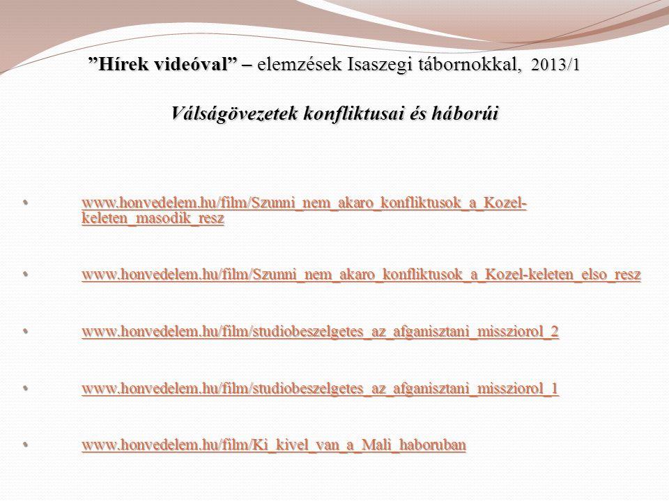 """""""Hírek videóval"""" – elemzések Isaszegi tábornokkal, 2013/1 Válságövezetek konfliktusai és háborúi • www.honvedelem.hu/film/Szunni_nem_akaro_konfliktuso"""