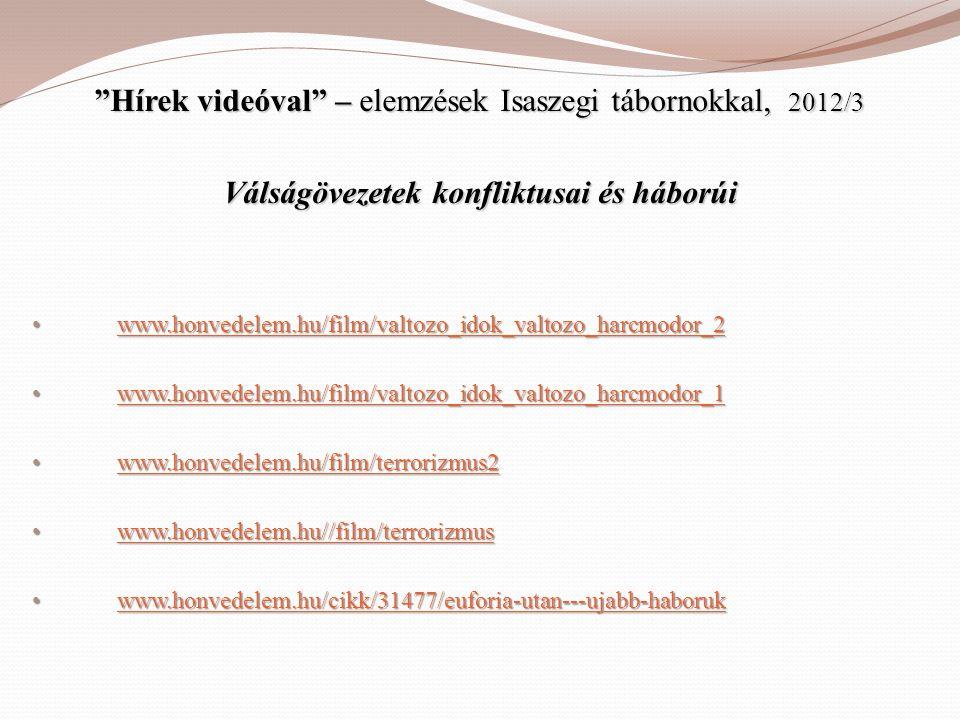 """""""Hírek videóval"""" – elemzések Isaszegi tábornokkal, 2012/3 Válságövezetek konfliktusai és háborúi • www.honvedelem.hu/film/valtozo_idok_valtozo_harcmod"""