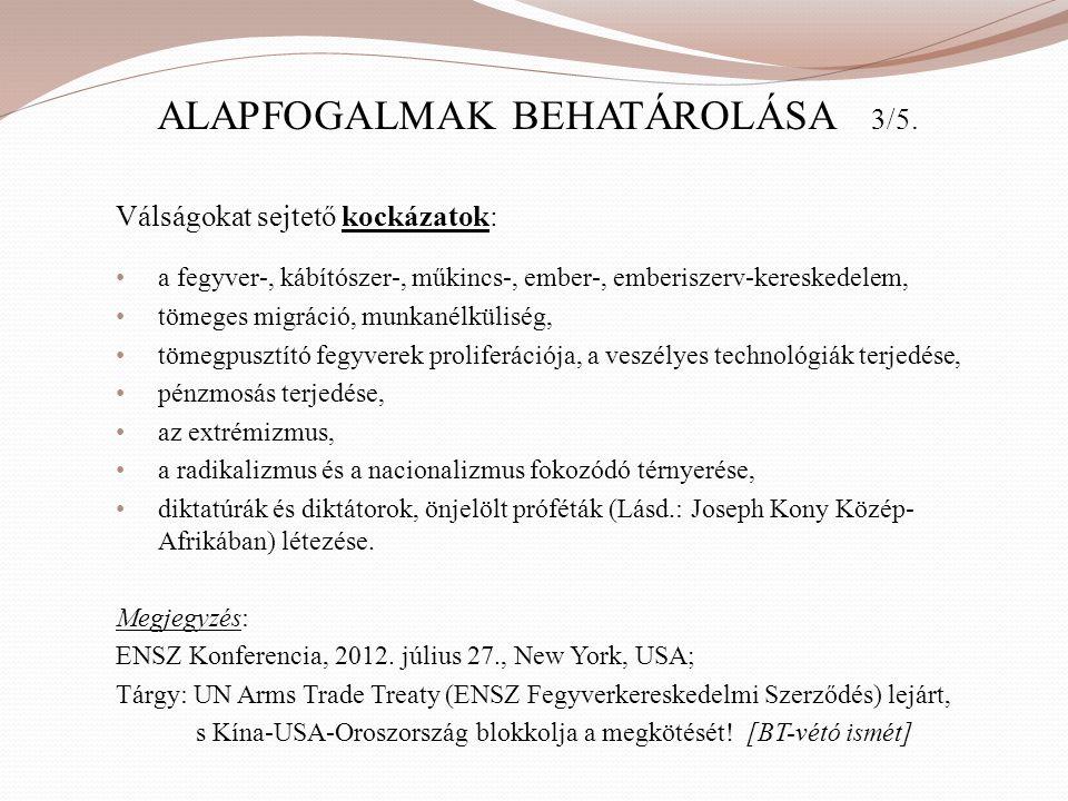 ALAPFOGALMAK BEHATÁROLÁSA 3/5. Válságokat sejtető kockázatok: • a fegyver-, kábítószer-, műkincs-, ember-, emberiszerv-kereskedelem, • tömeges migráci
