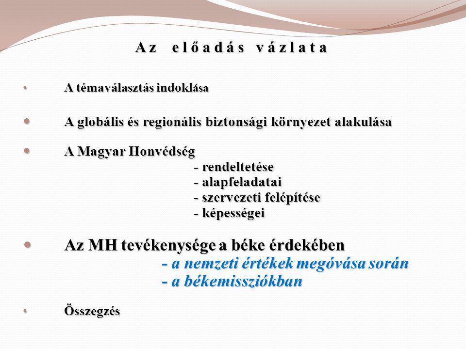 A z e l ő a d á s v á z l a t a • A témaválasztás indokl ása  A globális és regionális biztonsági környezet alakulása  A Magyar Honvédség - rendelte