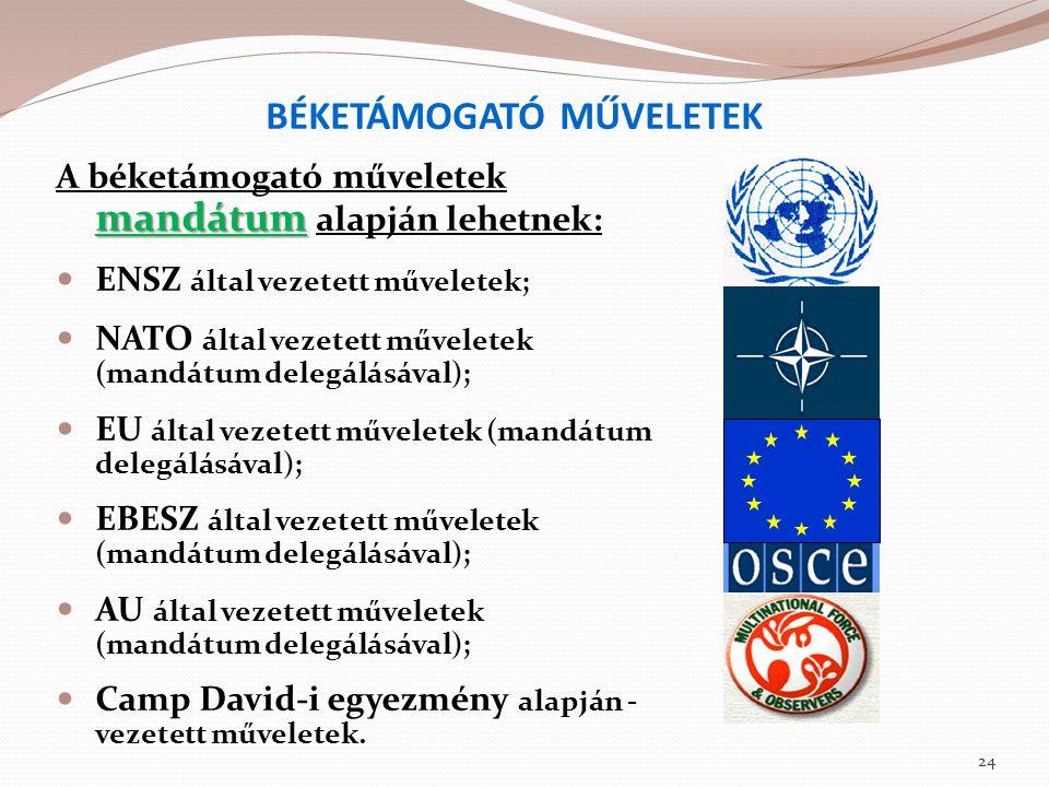 BÉKETÁMOGATÓ MŰVELETEK mandátum A béketámogató műveletek mandátum alapján lehetnek:  ENSZ által vezetett műveletek;  NATO által vezetett műveletek (