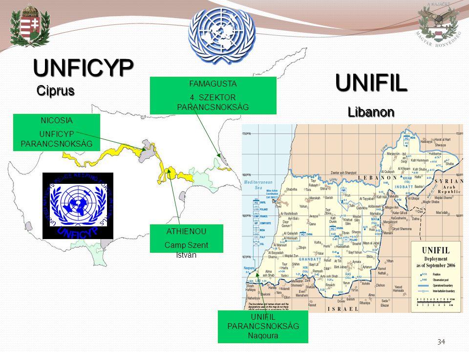 34 UNFICYP Ciprus UNIFIL Libanon NICOSIA UNFICYP PARANCSNOKSÁG FAMAGUSTA 4. SZEKTOR PARANCSNOKSÁG ATHIENOU Camp Szent István UNIFIL PARANCSNOKSÁG Naqo