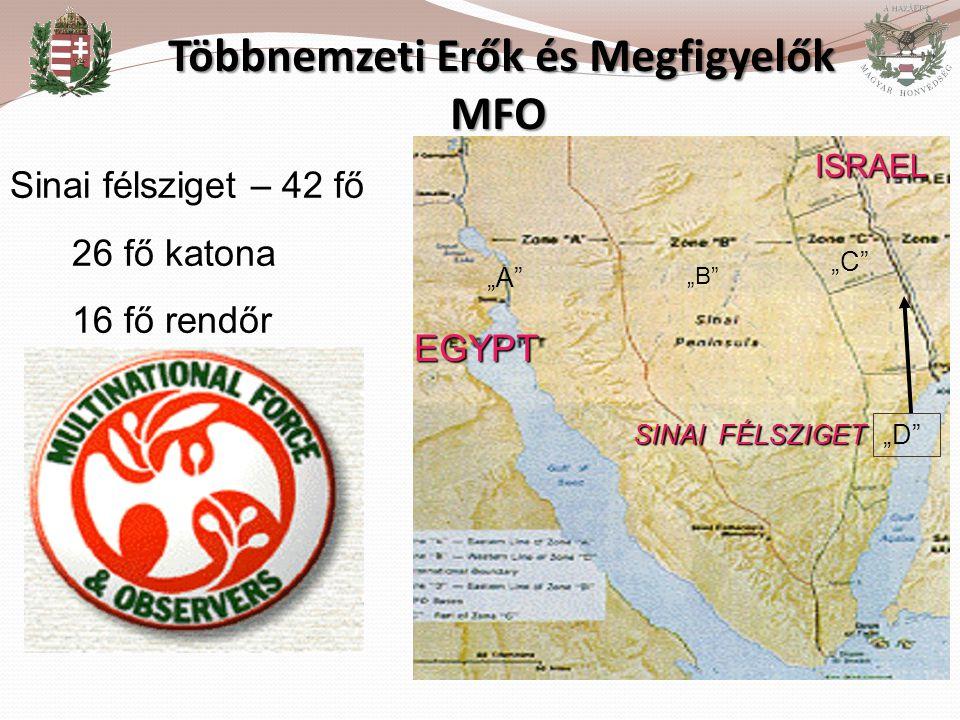 """Többnemzeti Erők és Megfigyelők MFO Többnemzeti Erők és Megfigyelők MFO EGYPT ISRAEL """"A"""" """"B"""" """"C"""" """"D"""" SINAI FÉLSZIGET Sinai félsziget – 42 fő 26 fő kat"""