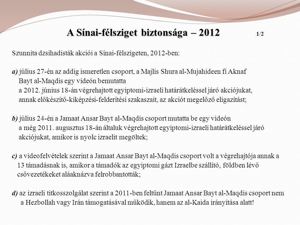 A Sínai-félsziget biztonsága – 2012 A Sínai-félsziget biztonsága – 2012 1/2 Szunnita dzsihadisták akciói a Sínai-félszigeten, 2012-ben: a) július 27-é