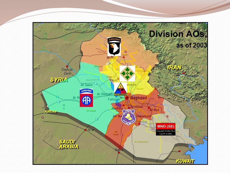 Hamadan Tigris R. Euphrates R. IRAN H3H3 22 6 Baghdad 1 KUWAIT JORDAN H4H4 2 5 12 1 10 1 Mosul An Najaf Kirkuk Al Kut Tikrit Ar Ramadi Ar'ar An Nasiri
