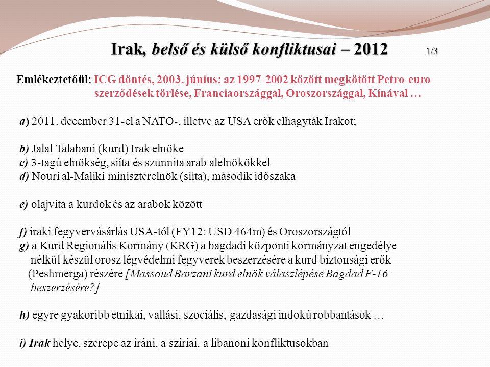 Irak, belső és külső konfliktusai – 2012 1/3 Irak, belső és külső konfliktusai – 2012 1/3 Emlékeztetőül: ICG döntés, 2003. június: az 1997-2002 között