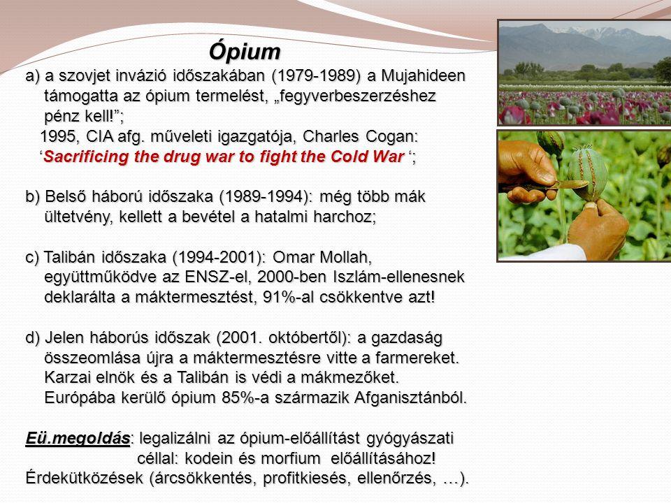 """Ópium a) a szovjet invázió időszakában (1979-1989) a Mujahideen támogatta az ópium termelést, """"fegyverbeszerzéshez pénz kell!""""; 1995, CIA afg. művelet"""