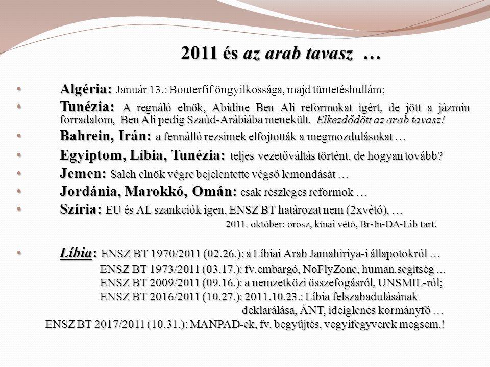 2011 és az arab tavasz … 2011 és az arab tavasz … • Algéria: • Algéria: Január 13.: Bouterfif öngyilkossága, majd tüntetéshullám; • Tunézia: A regnáló