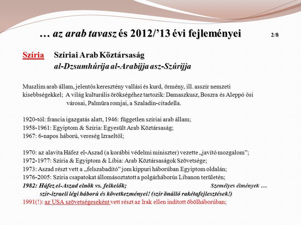 … az arab tavasz és 2012/'13 évi fejleményei 2/8 … az arab tavasz és 2012/'13 évi fejleményei 2/8 Szíria Szíriai Arab Köztársaság Szíria Szíriai Arab