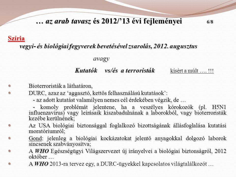 … az arab tavasz és 2012/'13 évi fejleményei 6/8 … az arab tavasz és 2012/'13 évi fejleményei 6/8 Szíria vegyi- és biológiai fegyverek bevetésével zsa