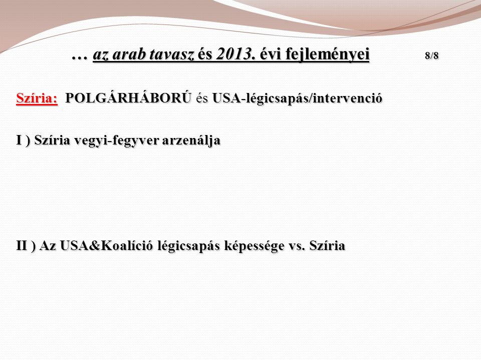 … az arab tavasz és 2013. évi fejleményei 8/8 … az arab tavasz és 2013. évi fejleményei 8/8 Szíria: POLGÁRHÁBORÚ és USA-légicsapás/intervenció I ) Szí
