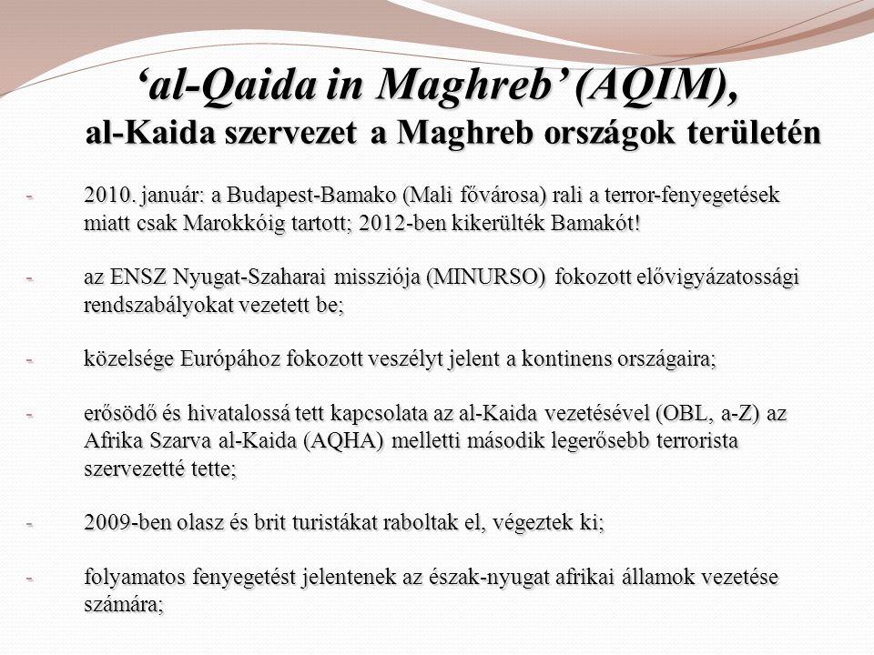 'al-Qaida in Maghreb' (AQIM), al-Kaida szervezet a Maghreb országok területén - 2010. január: a Budapest-Bamako (Mali fővárosa) rali a terror-fenyeget