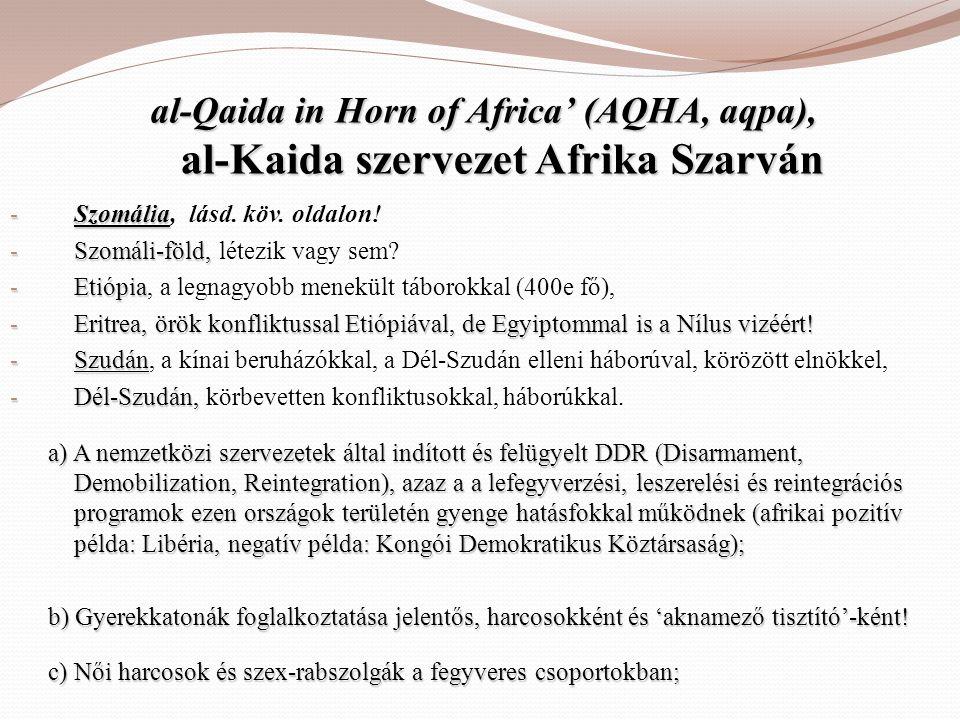 al-Qaida in Horn of Africa' (AQHA, aqpa), al-Kaida szervezet Afrika Szarván - Szomália - Szomália, lásd. köv. oldalon! - Szomáli-föld, - Szomáli-föld,