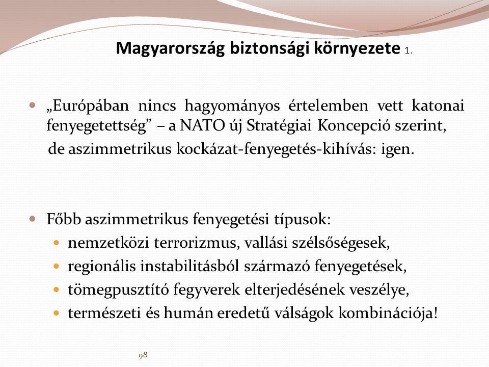 """Magyarország biztonsági környezete 1.  """"Európában nincs hagyományos értelemben vett katonai fenyegetettség"""" – a NATO új Stratégiai Koncepció szerint,"""