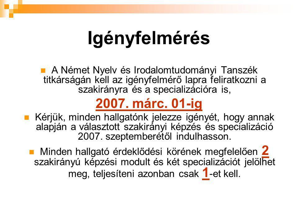 Igényfelmérés  A Német Nyelv és Irodalomtudományi Tanszék titkárságán kell az igényfelmérő lapra feliratkozni a szakirányra és a specializációra is, 2007.