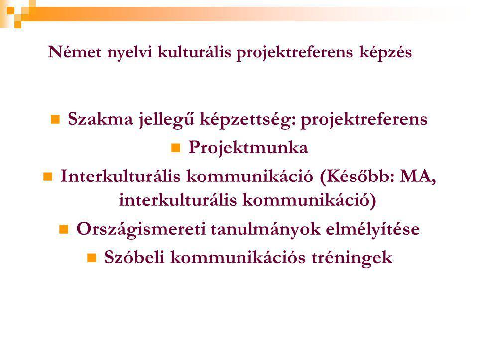 Német nyelvi kulturális projektreferens képzés  Szakma jellegű képzettség: projektreferens  Projektmunka  Interkulturális kommunikáció (Később: MA, interkulturális kommunikáció)  Országismereti tanulmányok elmélyítése  Szóbeli kommunikációs tréningek