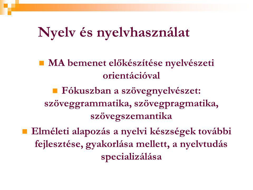 Nyelv és nyelvhasználat  MA bemenet előkészítése nyelvészeti orientációval  Fókuszban a szövegnyelvészet: szöveggrammatika, szövegpragmatika, szövegszemantika  Elméleti alapozás a nyelvi készségek további fejlesztése, gyakorlása mellett, a nyelvtudás specializálása