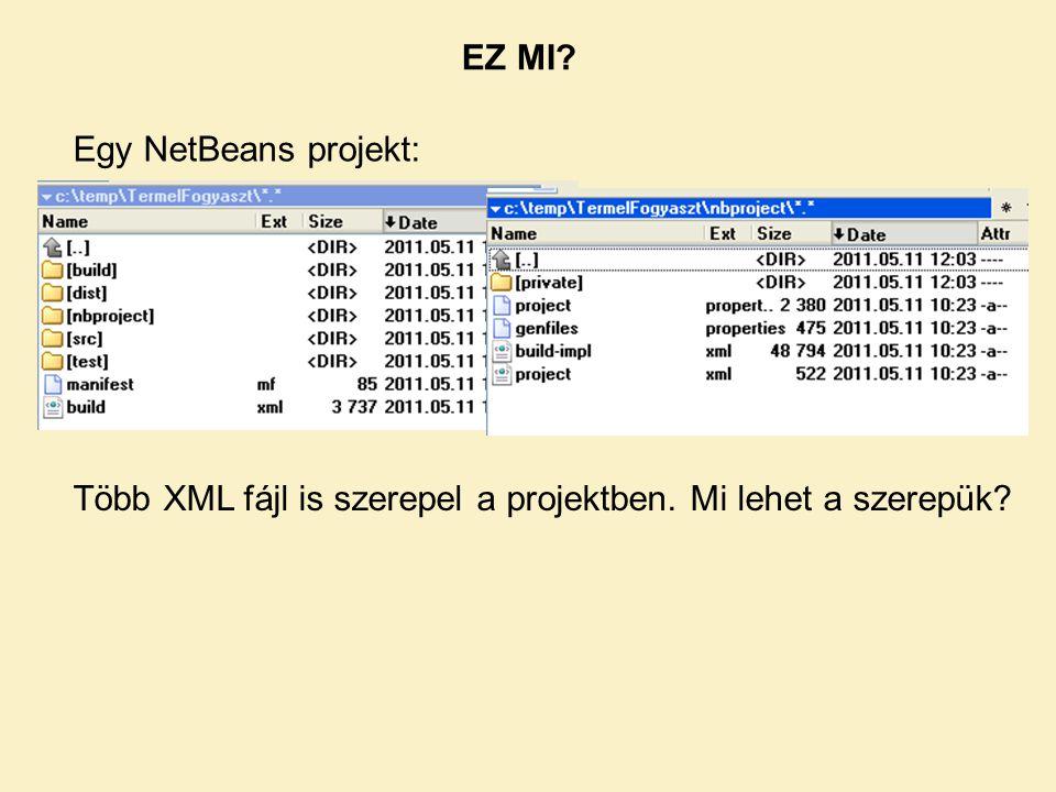 Egy NetBeans projekt: Több XML fájl is szerepel a projektben. Mi lehet a szerepük? EZ MI?