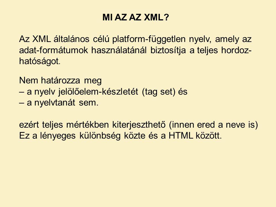 MI AZ AZ XML.Nem határozza meg – a nyelv jelölőelem-készletét (tag set) és – a nyelvtanát sem.