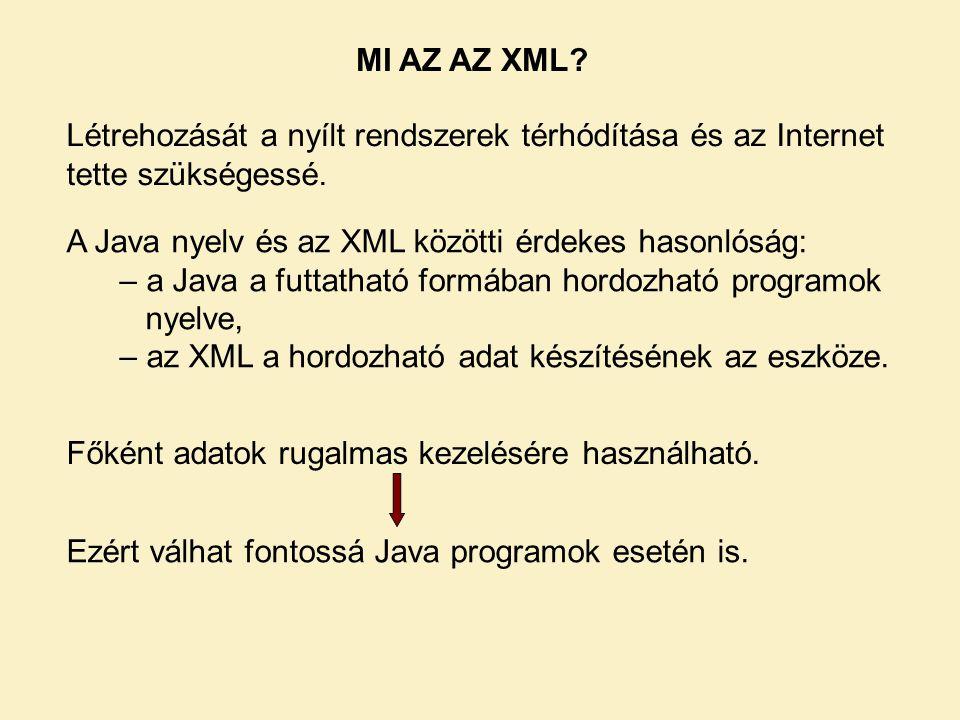 MI AZ AZ XML.Létrehozását a nyílt rendszerek térhódítása és az Internet tette szükségessé.