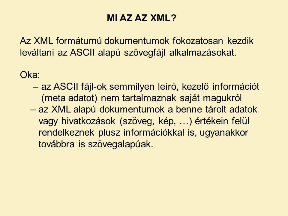 Az XML formátumú dokumentumok fokozatosan kezdik leváltani az ASCII alapú szövegfájl alkalmazásokat.