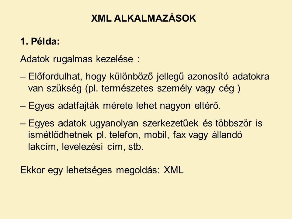 XML ALKALMAZÁSOK 1.