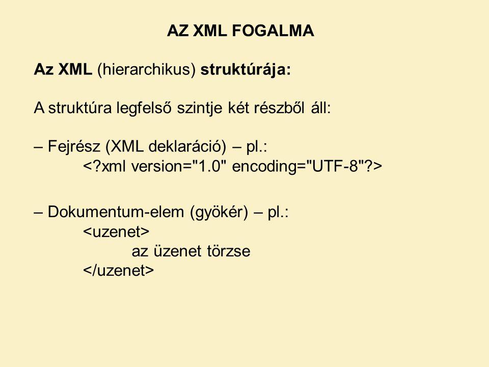 Az XML (hierarchikus) struktúrája: A struktúra legfelső szintje két részből áll: – Fejrész (XML deklaráció) – pl.: – Dokumentum-elem (gyökér) – pl.: az üzenet törzse AZ XML FOGALMA