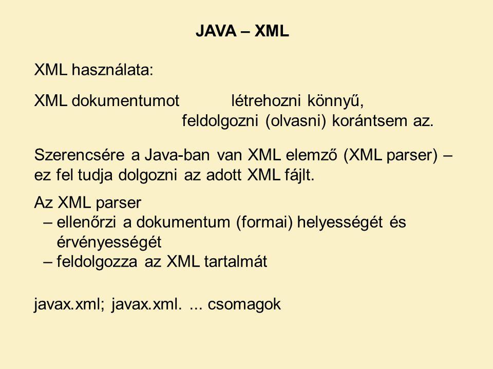 XML dokumentumot létrehozni könnyű,.feldolgozni (olvasni) korántsem az.