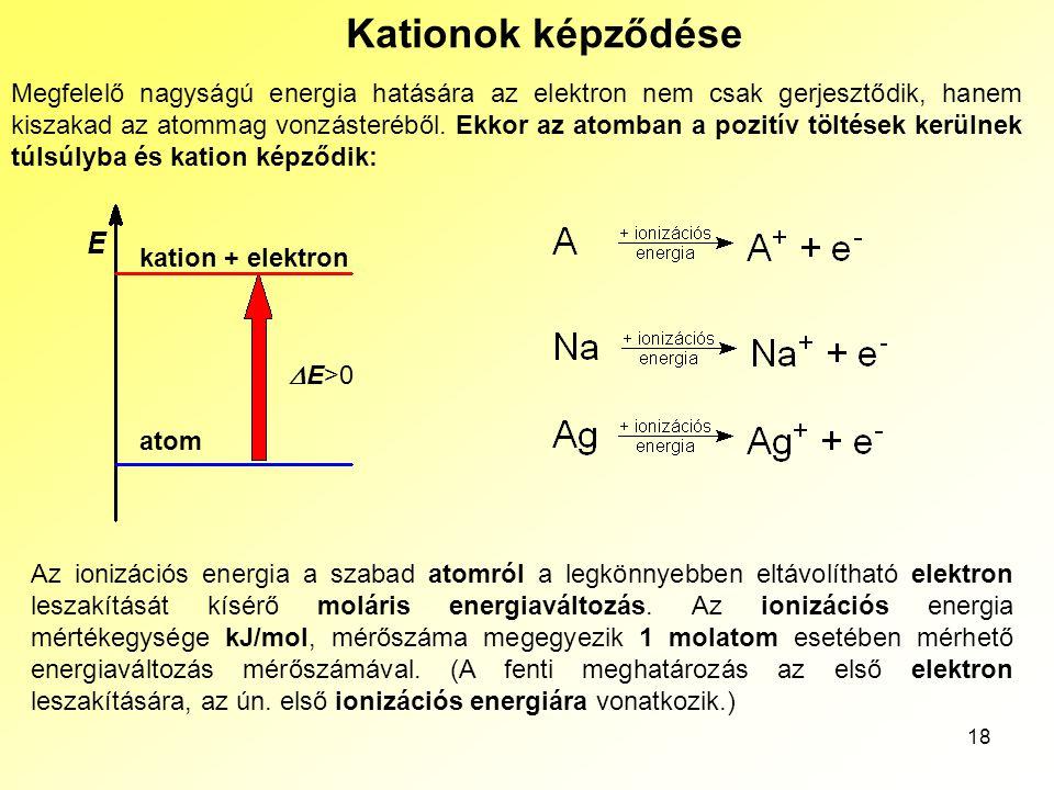 18 Kationok képződése Megfelelő nagyságú energia hatására az elektron nem csak gerjesztődik, hanem kiszakad az atommag vonzásteréből. Ekkor az atomban