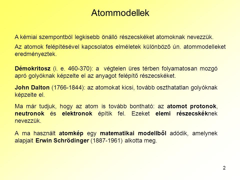 2 Atommodellek A kémiai szempontból legkisebb önálló részecskéket atomoknak nevezzük. Az atomok felépítésével kapcsolatos elméletek különböző ún. atom