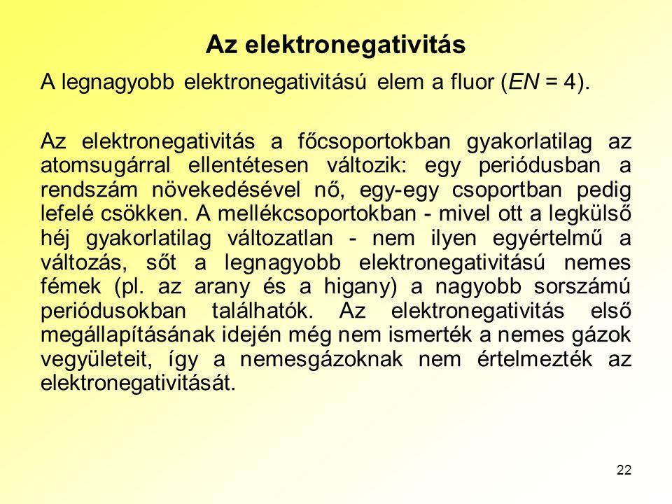 22 Az elektronegativitás A legnagyobb elektronegativitású elem a fluor (EN = 4). Az elektronegativitás a főcsoportokban gyakorlatilag az atomsugárral