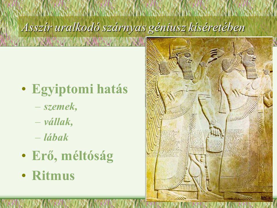 Íjászok - Dareiosz szúzai palotájából •Festett, domború zománctégla •Sablon alapján készülhetett •Mozdulatok ritmikusak •Nyugodt, fenséges tartás •Egyiptomi hatás