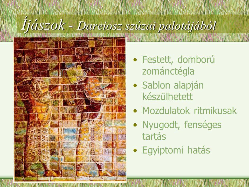 Bikafejes hárfa - egy Ur városi sírból •A bika mezopotámiai művészet kedvelt szimbóluma •Aranylemezzel borított fa, lazúrkő és kagylóberakással
