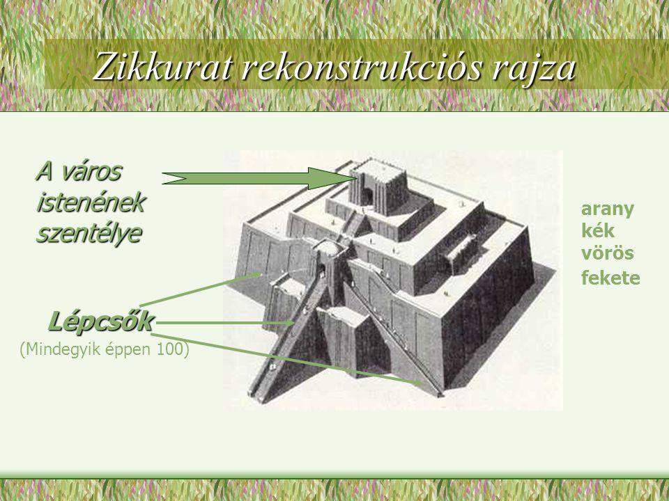 A város istenének szentélye arany kék vörös fekete Zikkurat rekonstrukciós rajza Lépcsők (Mindegyik éppen 100)