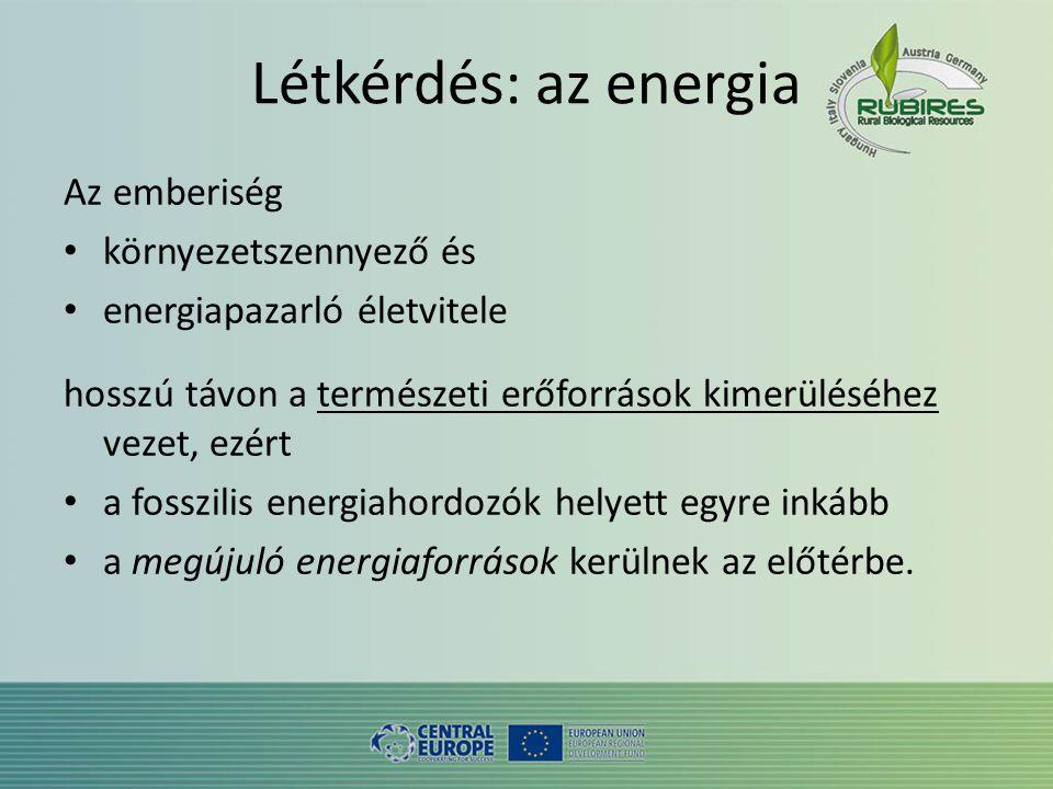 Létkérdés: az energia Az emberiség • környezetszennyező és • energiapazarló életvitele hosszú távon a természeti erőforrások kimerüléséhez vezet, ezért • a fosszilis energiahordozók helyett egyre inkább • a megújuló energiaforrások kerülnek az előtérbe.