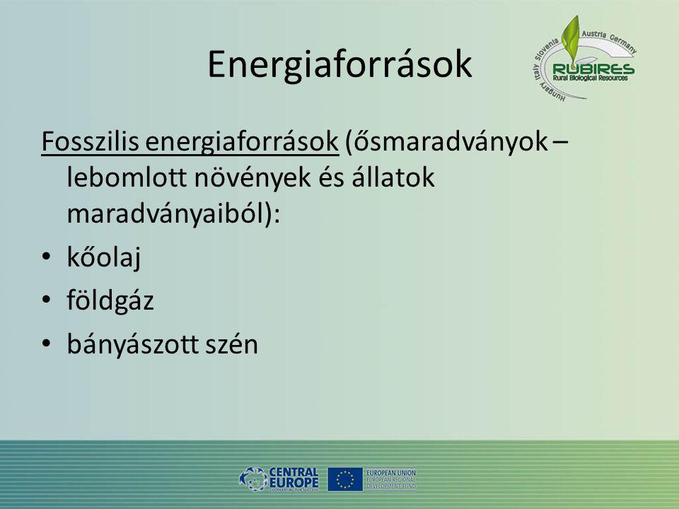 Energiaforrások Fosszilis energiaforrások (ősmaradványok – lebomlott növények és állatok maradványaiból): • kőolaj • földgáz • bányászott szén