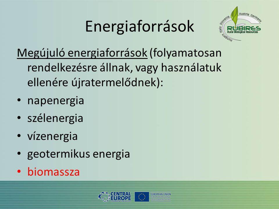 Energiaforrások Megújuló energiaforrások (folyamatosan rendelkezésre állnak, vagy használatuk ellenére újratermelődnek): • napenergia • szélenergia • vízenergia • geotermikus energia • biomassza