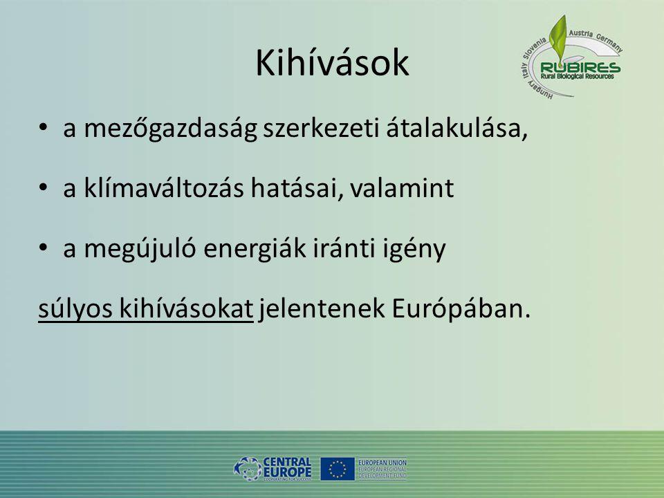 Kihívások • a mezőgazdaság szerkezeti átalakulása, • a klímaváltozás hatásai, valamint • a megújuló energiák iránti igény súlyos kihívásokat jelentenek Európában.