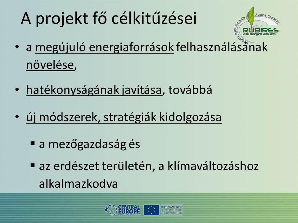 A projekt fő célkitűzései • a megújuló energiaforrások felhasználásának növelése, • hatékonyságának javítása, továbbá • új módszerek, stratégiák kidolgozása  a mezőgazdaság és  az erdészet területén, a klímaváltozáshoz alkalmazkodva